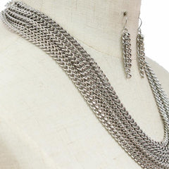 "18"" silver multi layered chain necklace 1.75"" earrings"
