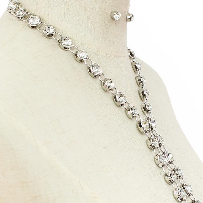 "17"" crystal bridal prom choker collar tie necklace .30"" earrings"