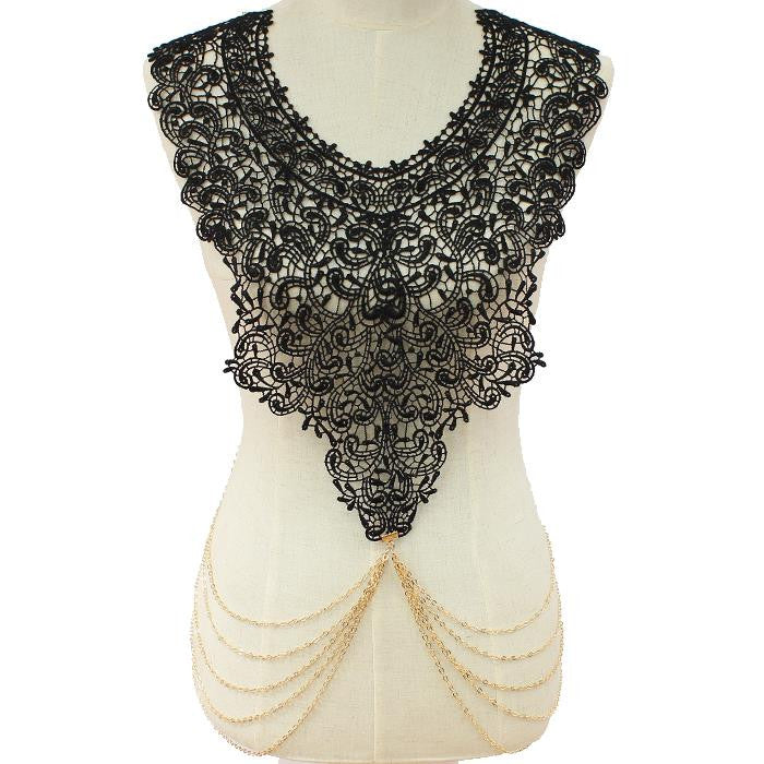 "26"" gold lace choker collar bib necklace paisley body chain"