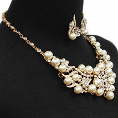 "16"" cream crystal faux pearl choker collar necklace 1.25"" earrings bridal prom"