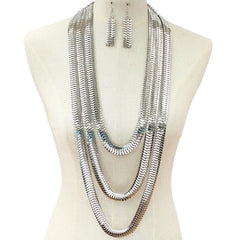 "32"" long multi layered coreana chain necklace 2.75"" earrings"