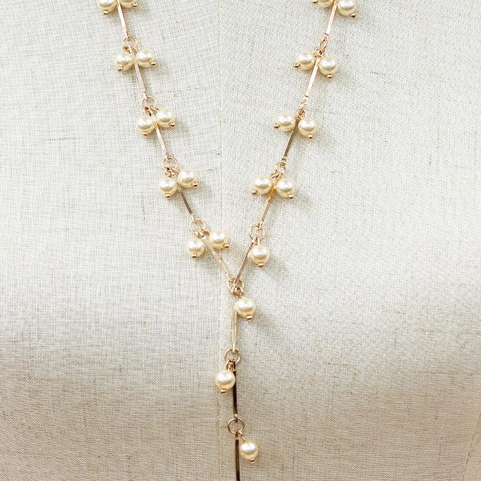 "23"" pearl Y necklace 2.75"" earrings 10"" drop"