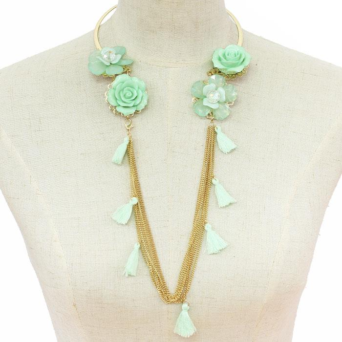 "16"" mint acrylic flower tassel multi chain choker collar necklace 9"" drop"