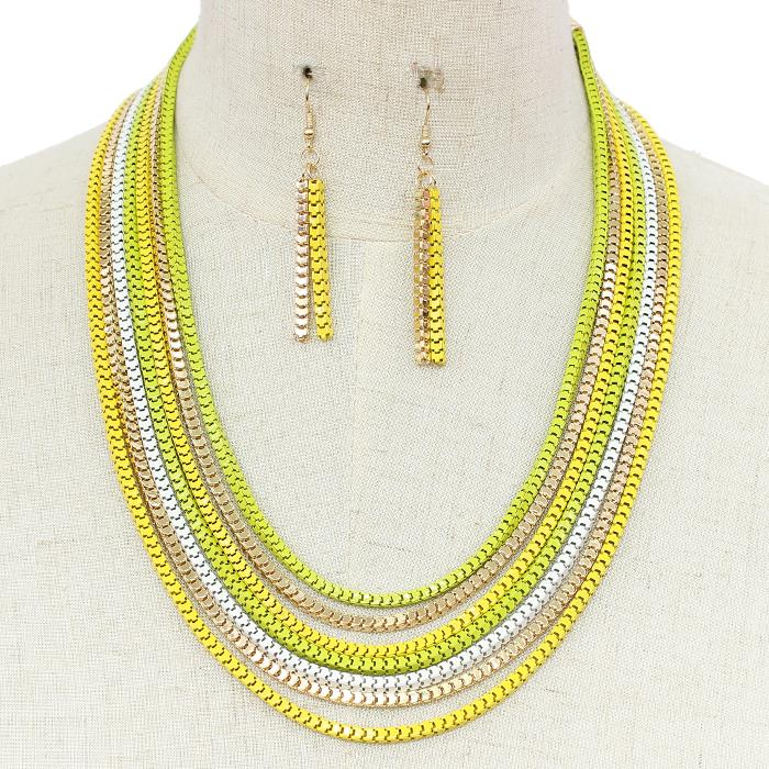 "19"" multi colored box chain layered necklace 2"" earrings"