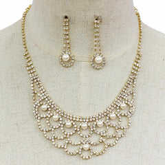 "12"" pearl crystal choker necklace 1.50"" earrings bridal prom"