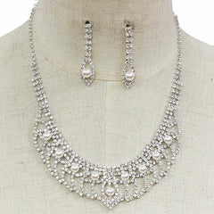 "14"" crystal choker necklace 1.75"" earrings bridal prom"