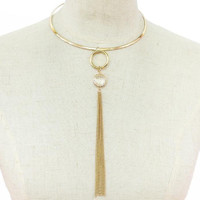 "16"" gold crystal fringe tassel latch choker necklace 7.25"" drop"