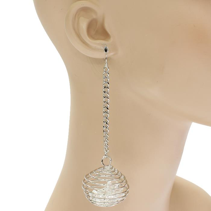"4.50"" silver crystal cage long dangle pierced earrings"