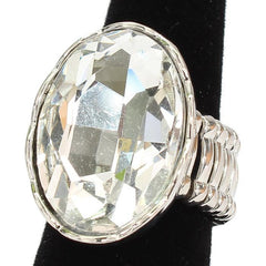 "1.20"" oval crystal cocktail stretch ring"