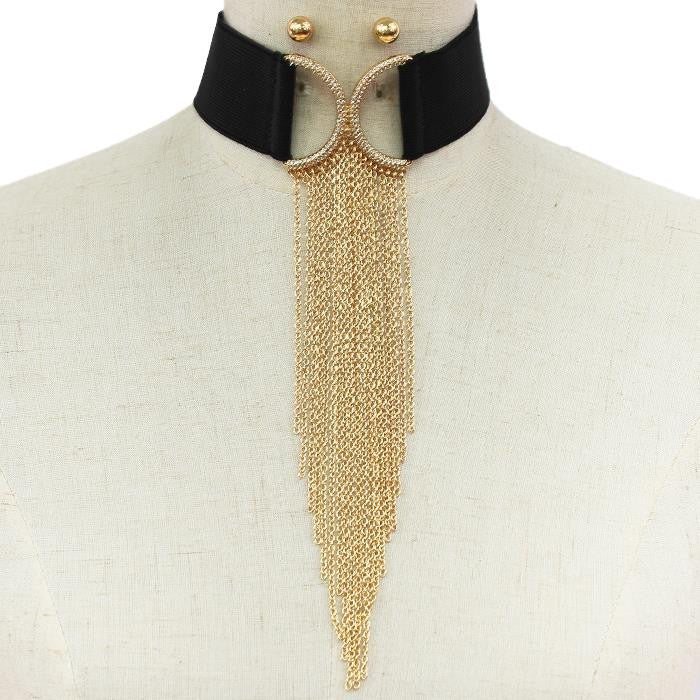 "13"" gold clear crystal drop chain choker collar necklace 9.50"" fringe tassel"