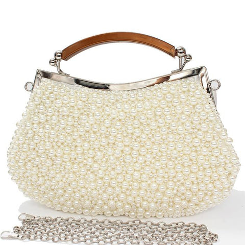 "9"" X 6""  cream pearl eveing bag purse bridal prom handbag"