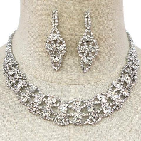 "10"" silver crystal collar choker bib bridal prom necklace 2"" earrings pageant bridal prom"