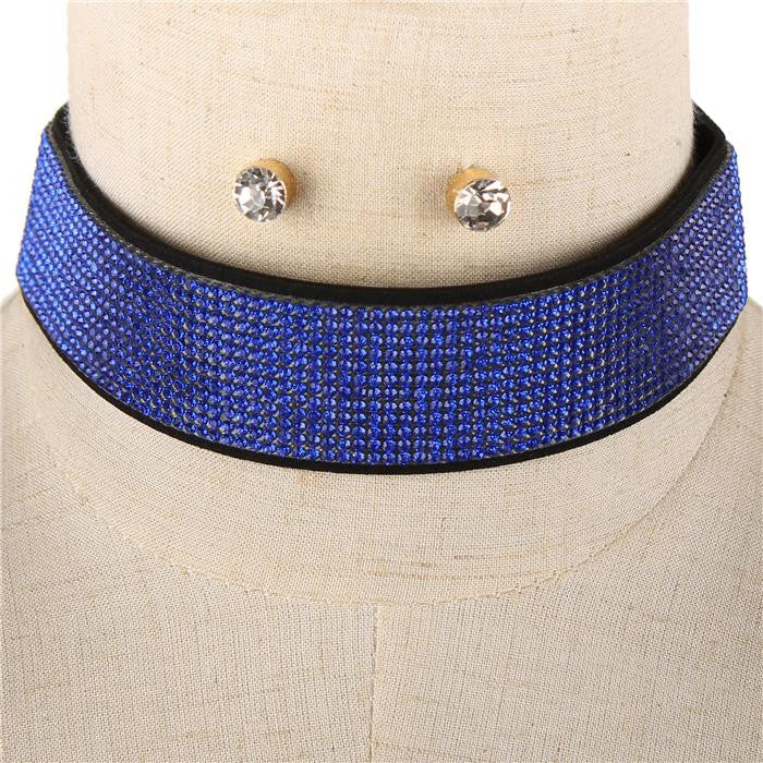 "14"" blue crystal 13 lines choker bib collar necklace .40"" earrings 1.05"" wide"