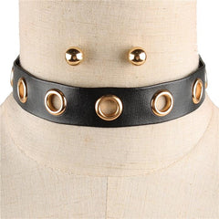 "13"" gold rivet faux choker collar necklace .25"" earrings .75"" wide"