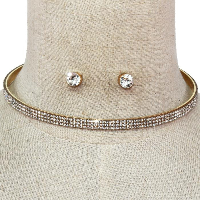 "14"" gold clear crystal choker necklace .25"" earrings .20"" wide bridal prom"