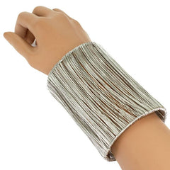 "4"" long silver wire bracelet bangle cuff basketball wives"