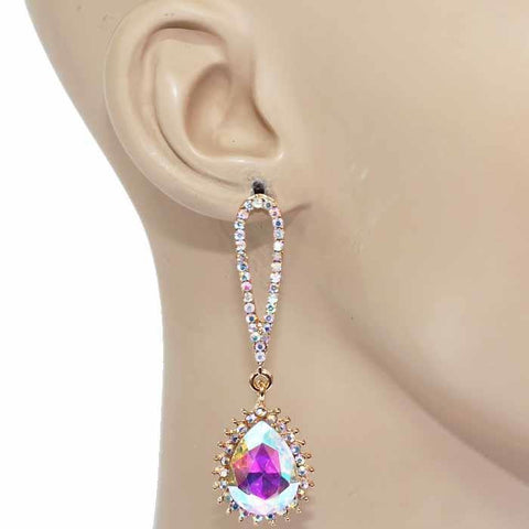 "2.35"" crystal dangle teardrop earrings bridal prom pageant"