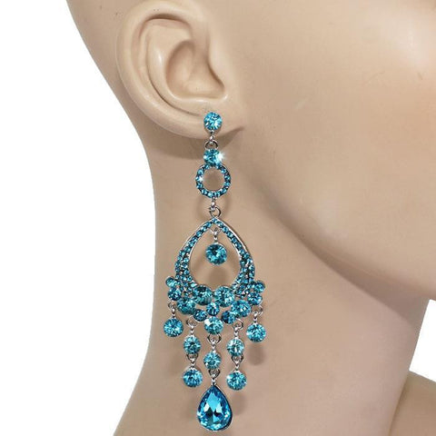 "3.80"" crystal dangle chandelier earrings bridal prom pageant"