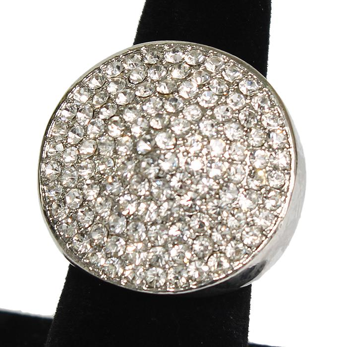 "1.10"" silver clear round crystal pave stretch cocktail ring prom bridal"