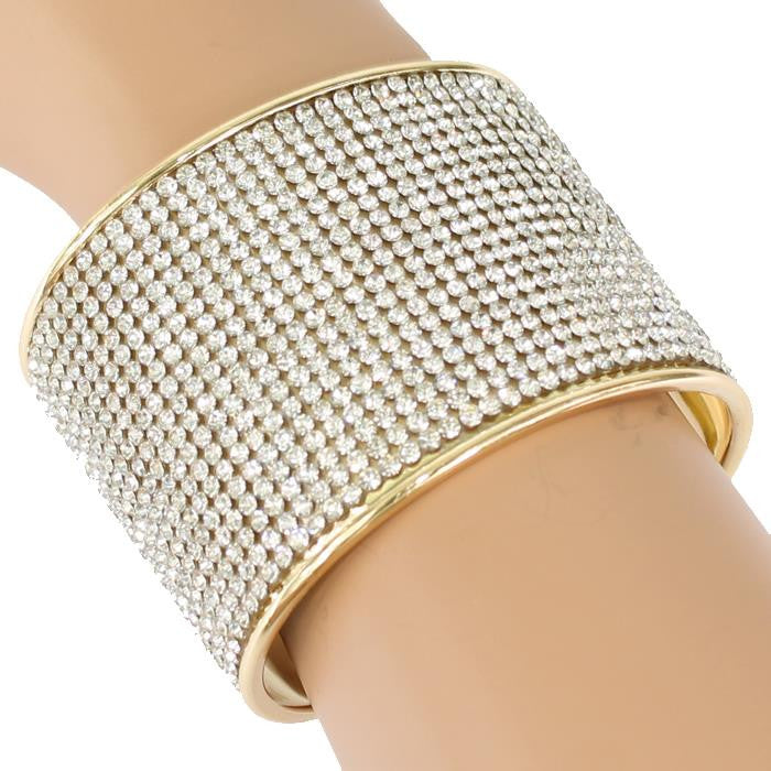 "2.20"" height gold crystal cuff bracelet bangle bridal prom pageant"