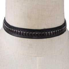 "12"" black faux leather stud choker bib collar necklace .75"" wide"