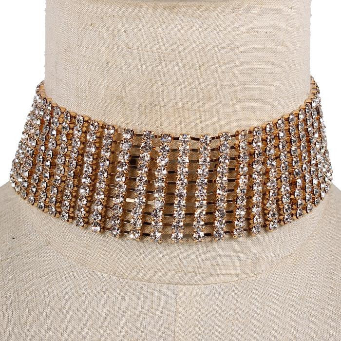 "15"" gold crystal 10 line choker collar necklace bib 1.50"" wide bridal prom pageant"