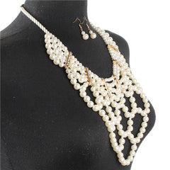 "17"" cream faux pearl 6"" drop layered multi strand choker necklace 1.50"" earrings"