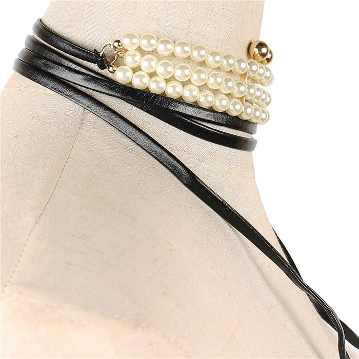 white faux pearl wrap faux suede tie multi layered choker collar necklace