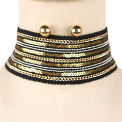 "13"" gold sequin metal chain choker bib collar necklace earrings 2.30"" wide"