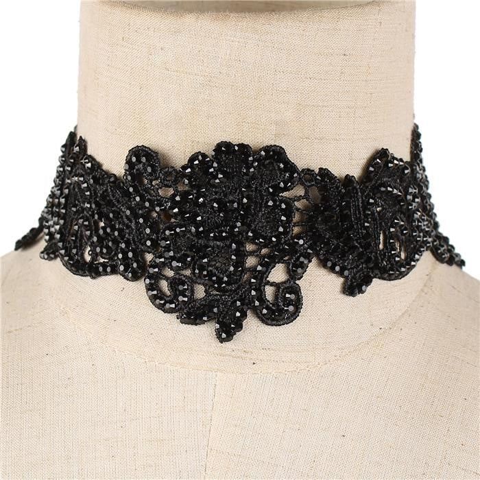 "15"" black crystal lace pave floral choker bib collar necklace 2"" wide"