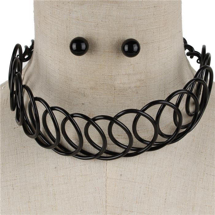 "15.50"" circle wire coil choker collar Necklace .50"" earrings 2"" wide"