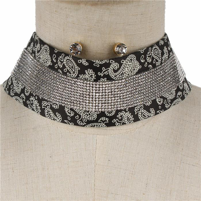 "12"" bandana crystal fabric scarf choker necklace .25"" earrings 2"" wide"