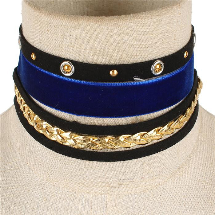 5 layered velvet choker layered necklace 3 piece choker
