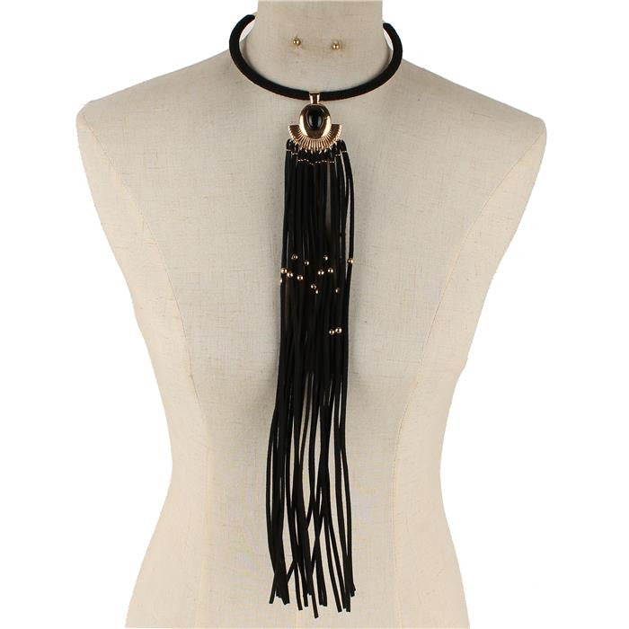 "15"" black gold faux suede 15"" tassel fringe collar choker necklace .10"" earrings"