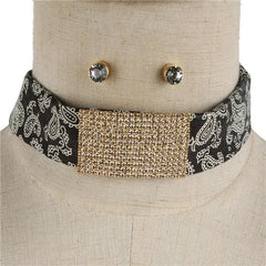 "13"" gold crystal paisley bandana choker collar necklace .50"" earrings 1"" wide"