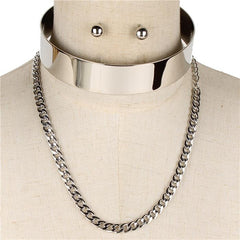 "14"" layered chain open cuff choker necklace .25"" earrings .80"" wide 4"" drop 2 separate pieces"