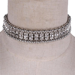 "12"" gold crystal choker collar necklace bridal prom .75"" wide"