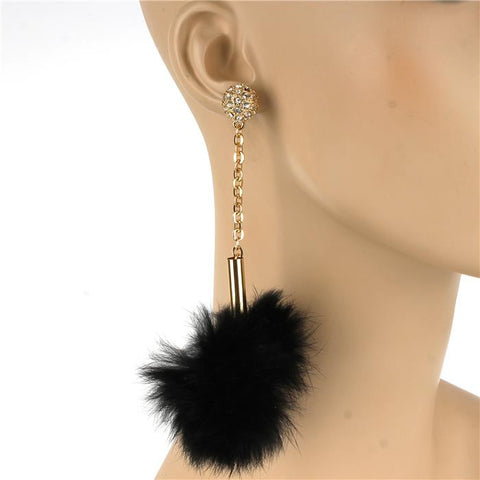 "5"" faux fur crystal 3"" wide pom pom earrings basketball wives"