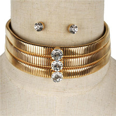 "14"" gold crystal 3 layer omega chain choker collar necklace .50"" earrings"