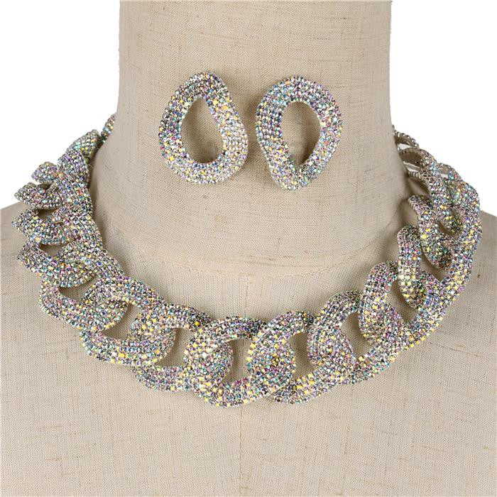 "18"" ab crystal 1.30"" link choker bib collar necklace 1.80"" earrings bridal prom"
