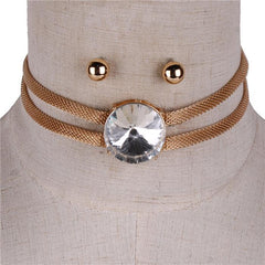 "12"" mesh 1"" crystal multi layered choker necklace .25"" earrings"