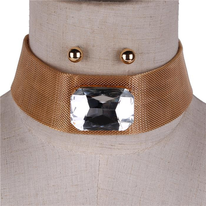 "12"" gold 1.30"" crystal mesh choker necklace .25"" earrings 1.30"" wide"