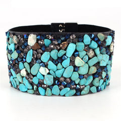 "7.25"" semi stone cuff bracelet bangle magnetic 1.40"" wide"