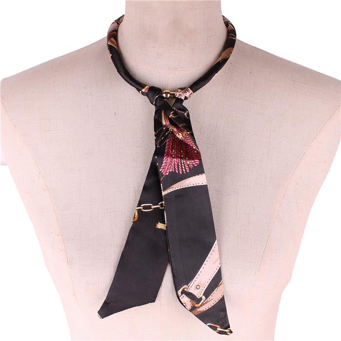 "17"" silk magnetic scarf choker collar necklace 7"" drop"