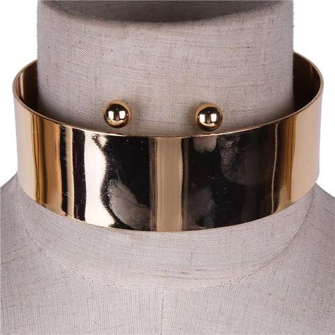 "13"" gold 1.50"" wide choker collar necklace .50"" earrings"