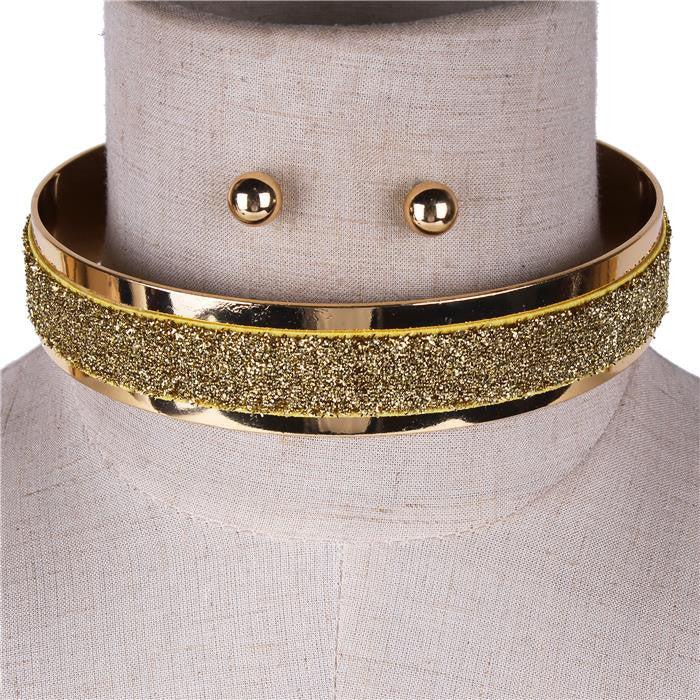 "12"" glitter choker collar necklace .50"" earrings 1.20"" wide"