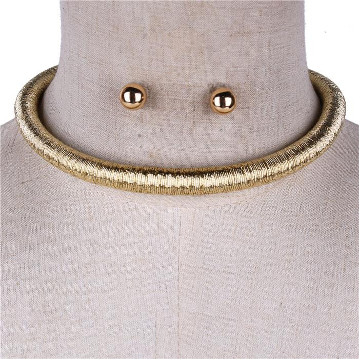 "14"" metallic cord coil choker necklace .30"" wide"