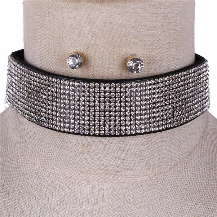 "13"" hematite crystal collar choker necklace .25"" earrings 1.25"" wide 11 lines"