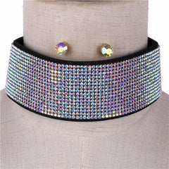 "13"" crystal 16 lines choker bib collar necklace .30"" earrings 1.85"" wide"