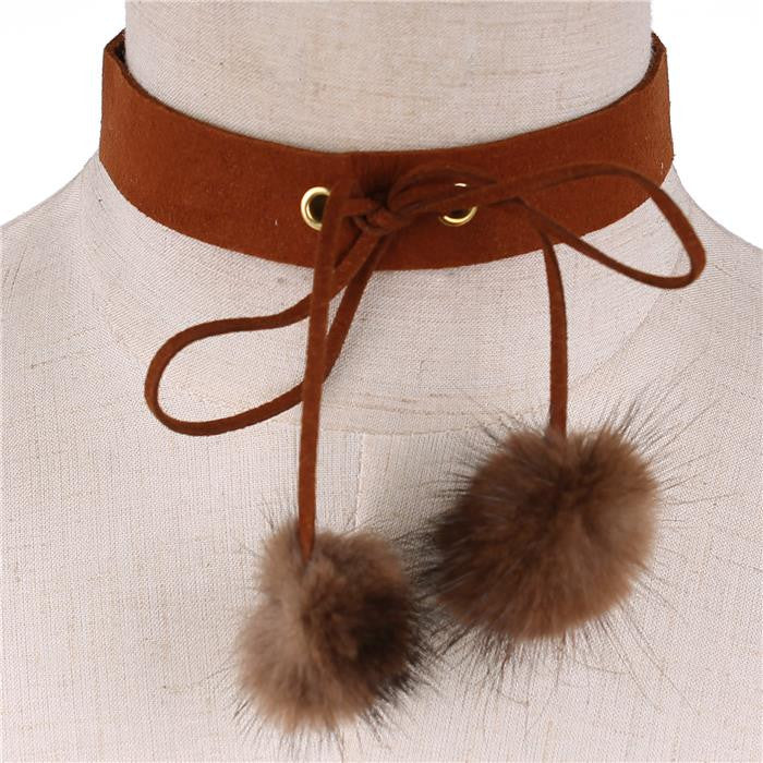 "13"" pom pom faux fur corset tie choker collar necklace 1.20"" wide"